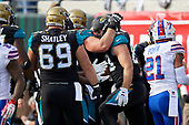 Jacksonville Jaguars Ben Koyack (83) celebrates with teammates after catching a touchdown pass from Blake Bortles (not shown) in the third quarter during an NFL Wild-Card football game against the Buffalo Bills, Sunday, January 7, 2018, in Jacksonville, Fla.  (Mike Janes Photography)