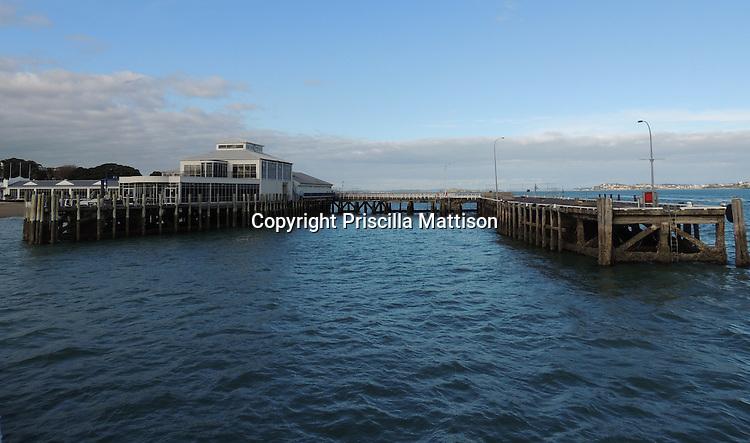 Auckland, New Zealand - September 19, 2012:  Devenport Wharf from the water.