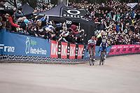 Philippe Gilbert (BEL/Deceuninck Quick Step) sitting in Nils Politt's  (GER/Katusha Alpecin) slipstream inside the famous Roubaix Velodrome. <br /> <br /> <br /> 117th Paris-Roubaix (1.UWT)<br /> 1 Day Race: Compiègne-Roubaix (257km)<br /> <br /> ©kramon
