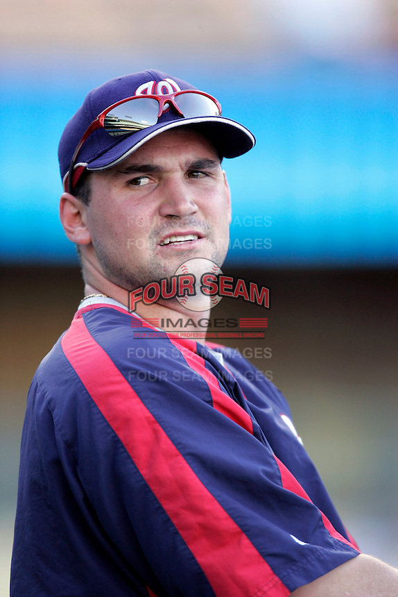 Ryan Zimmerman of the Washington Nationals during batting practice before a game from the 2007 season at Dodger Stadium in Los Angeles, California. (Larry Goren/Four Seam Images)