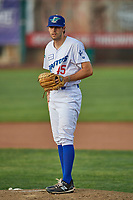 Ogden Raptors starting pitcher Gavin Weyman (45) looks for the sign against the Grand Junction Rockies at Lindquist Field on June 5, 2021 in Ogden, Utah. The Raptors defeated the Rockies 18-1. (Stephen Smith/Four Seam Images)