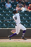 Laz Rivera (16) of the Winston-Salem Dash follows through on his swing against the Buies Creek Astros at BB&T Ballpark on July 15, 2018 in Winston-Salem, North Carolina. The Dash defeated the Astros 6-4. (Brian Westerholt/Four Seam Images)