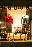 Dress shop window display.