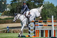NZL-Sarah West rides Oaks Centurian. Final-1st. Class 24: ESNZ Jumping Horse Grand Prix Sponsored by INKSTER LANDSCAPES. 2021 NZL-Auckland Veterinary Centre Brookby SJ Grand Prix Show. Papatoetoe, Auckland. Sunday 14 February. Copyright Photo: Libby Law Photography