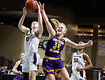 SIOUX FALLS, SD - MARCH 7: Paxton Payne #15 of the UMKC Kangaroos battles for the ball with Sam Pryor #34 of the Western Illinois Leathernecks during the Summit League Basketball Tournament at the Sanford Pentagon in Sioux Falls, SD. (Photo by Richard Carlson/Inertia)