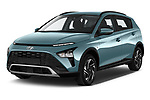 2021 Hyundai Bayon Techno 5 Door SUV Angular Front automotive stock photos of front three quarter view