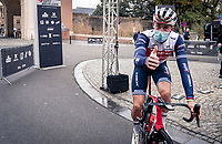 Mads Pedersen (DEN/Trek-Segafredo) indicating his form at the team presentation at the start under/in front of the Menin Gate War Memorial<br /> <br /> 82nd Gent-Wevelgem in Flanders Fields 2020 (1.UWT)<br /> 1 day race from Ieper to Wevelgem (232km)<br /> <br /> ©kramon