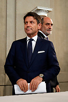 Giuseppe Conte in press conference<br /> Rome September 4th 2019. Quirinale. Giuseppe Conte, after a short talk with the President of the Republic, accepts president's mandate to form Italy's new government.<br /> Foto  Samantha Zucchi Insidefoto