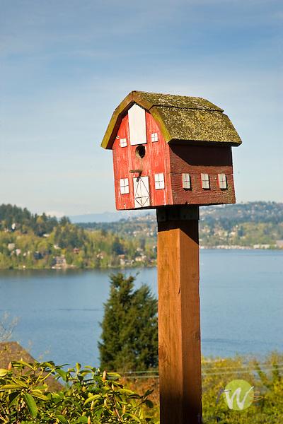 Barn birdhouse with Lake Washington Background.