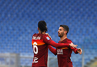 Roma's Chris Smalling, left, and Leonardo Spinazzola celebrate at the end of the Italian Serie A Football match between Roma and Genoa at Rome's Olympic stadium, March 7, 2021. Roma won 1-0.<br /> UPDATE IMAGES PRESS/Riccardo De Luca