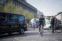 A relaxed Alejandro Valverde (ESP/Movistar team) riding to the race start<br /> <br /> 103rd Liège-Bastogne-Liège 2017 (1.UWT)<br /> One Day Race: Liège › Ans (258km)