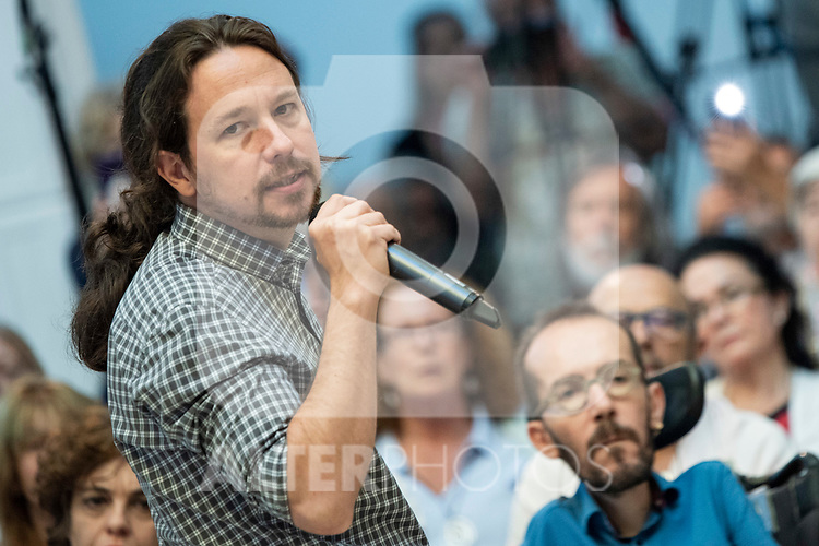 Pablo Iglesias, secretary general of Podemos; Pablo Echenique, Secretary of Government Action, Institutional Action and Program; Ione Belarra, deputy spokesperson for United We can;  in a meeting of Podemos with people in Madrid where they exchange points of view, listen to concerns and draw shared horizons.<br /> October 5, 2019. <br /> (ALTERPHOTOS/David Jar)