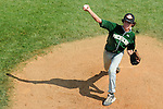 Aberdeen, MD: Willamette Valley's Jordan Barrett makes a pitch during Thursday afternoon's Tampa v Willamette game at the 2009 Cal Ripken World Series