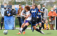 Kassandra Missipo (12 Anderlecht) pictured in a duel with Ellen Martens (2 Brugge) during a female soccer game between Club Brugge Dames YLA and RSC Anderlecht Ladies on the fifth matchday of the 2020 - 2021 season of Belgian Scooore Womens Super League , sunday 18 October 2020  in Brugge , Belgium . PHOTO SPORTPIX.BE | SPP | DAVID CATRY