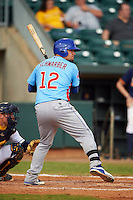 Tennessee Smokies catcher Kyle Schwarber (12) at bat during a game against the Montgomery Biscuits on May 25, 2015 at Riverwalk Stadium in Montgomery, Alabama.  Tennessee defeated Montgomery 6-3 as the game was called after eight innings due to rain.  (Mike Janes/Four Seam Images)