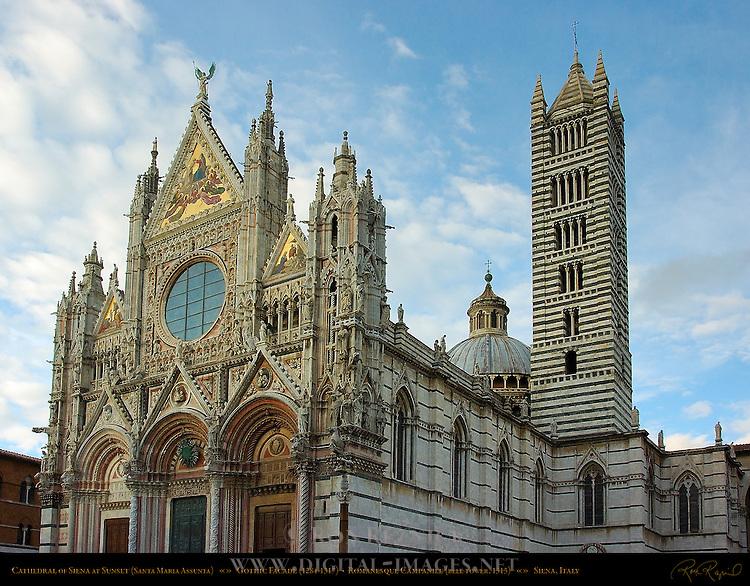Gothic Facade 1284-1317, Romanesque Bell Tower 1313, Cathedral of Siena, Santa Maria Assunta, Siena, Italy