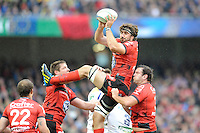 Juan Martin Fernandez Lobbe of RC Toulon wins a lineout during the Heineken Cup Final between ASM Clermont Auvergne and RC Toulon at the Aviva Stadium, Dublin on Saturday 18th May 2013 (Photo by Rob Munro)