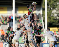 Nick Easter of Harlequins beats Scott MacLeod of Newcastle Falcons in the lineout during the Aviva Premiership match between Harlequins and Newcastle Falcons at the Twickenham Stoop on Saturday 15th February 2014 (Photo by Rob Munro)