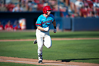 Spokane Indians shortstop Jax Biggers (1) runs down the first base line during a Northwest League game against the Vancouver Canadians at Avista Stadium on September 2, 2018 in Spokane, Washington. The Spokane Indians defeated the Vancouver Canadians by a score of 3-1. (Zachary Lucy/Four Seam Images)