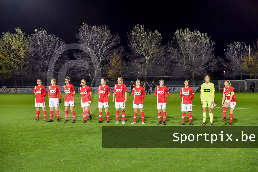 Line up Standard ( forward Sanne Schoenmakers (8) , midfielder Aster Janssens (5) , defender Ellen Charlier (13) , defender Elien Nelissen (15) , midfielder Merel Bormans (4) , forward Sylke Calleeuw (9) , forward Davinia Vanmechelen (25) , forward Noemie Gelders (10) , forward Lola Wajnblum (11) , goalkeeper Lisa Lichtfus (16) , midfielder Charlotte Cranshoff (18) ) pictured during a female soccer game between  AA Gent Ladies and Standard Femina de Liege on the 8 th matchday of the 2020 - 2021 season of Belgian Scooore Womens Super League , friday 20 th of November 2020  in Oostakker , Belgium . PHOTO SPORTPIX.BE | SPP | STIJN AUDOOREN