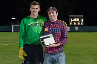 November 13, 2013: Drew Hutchins during the senior day ceremony before the Stanford vs Cal men's soccer match in Stanford, California.  Stanford won 2-1 in overtime.