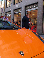 Lamborghini motorcar, Montenapoleone district, Milan, Ital