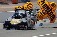 Apr. 2, 2011; Las Vegas, NV, USA: NHRA funny car driver Brian Thiel during qualifying for the Summitracing.com Nationals at The Strip in Las Vegas. Mandatory Credit: Mark J. Rebilas-