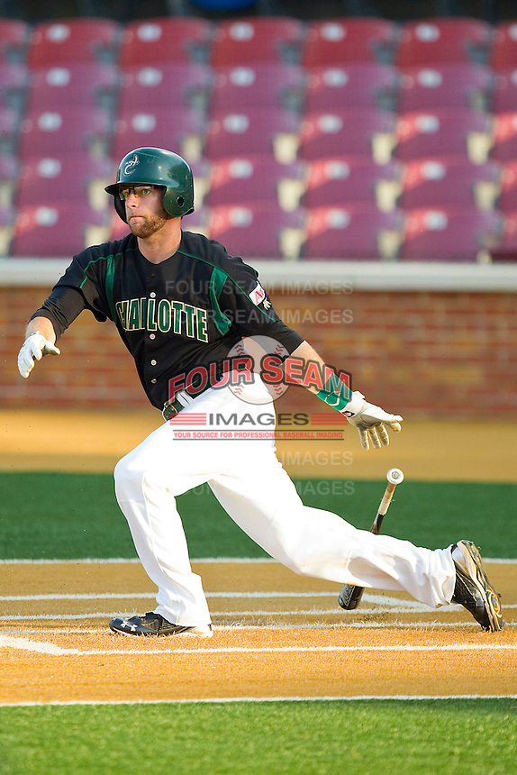 Ross Steedley #40 of the Charlotte 49ers follows through on his swing against the Wake Forest Demon Deacons at Gene Hooks Field on March 22, 2011 in Winston-Salem, North Carolina.   Photo by Brian Westerholt / Four Seam Images