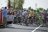 Peter Sagan (SVK) & Michal Kwiatkowski (POL) shake hands at the start while Chris Froome (GBR) approves<br /> <br /> Tour de France 2013<br /> stage 12: Fougères - Tours 218km