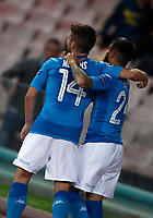 Football Soccer: UEFA Champions League Napoli vs Mabchester City San Paolo stadium Naples, Italy, November 1, 2017. <br /> Napoli's Lorenzo Insigne (r) celebrates with his teammates Dries Mertens (l) after scoring during the Uefa Champions League football soccer match between Napoli and Manchester City at San Paolo stadium, November 1, 2017.<br /> UPDATE IMAGES PRESS/Isabella Bonotto