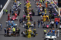 30th May 2021, Indianapolis, Indiana, USA;  NTT Indy Car Series drivers wait for the command to start their engines during the 105th running of the Indianapolis 500 on May 30, 2021 at the Indianapolis Motor Speedway in Indianapolis, Indiana.