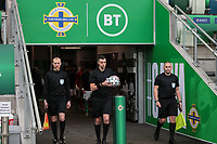 BELFAST, NORTHERN IRELAND - MARCH 28: Referees before a game between Northern Ireland and USMNT at Windsor Park on March 28, 2021 in Belfast, Northern Ireland.