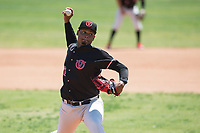 Visalia Rawhide starting pitcher Emilio Vargas (26) delivers a pitch to the plate during a California League game against the Stockton Ports at Visalia Recreation Ballpark on May 9, 2018 in Visalia, California. Stockton defeated Visalia 4-2. (Zachary Lucy/Four Seam Images)