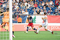 FOXOBOROUGH, MA - AUGUST 21: Gustavo Bou #7 of New England Revolution crosses the ball towards the of FC Cincinnati goal during a game between FC Cincinnati and New England Revolution at Gillette Stadium on August 21, 2021 in Foxoborough, Massachusetts.