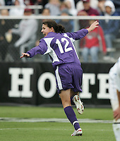 Portland's Christine Sinclair (12) celebrates scoring her second goal, and Portland's third. The University of Portland Pilots led the UCLA Bruins 3-0 at halftime in the NCAA Division I Women's Soccer Championship game at Aggie Soccer Stadium in College Station, TX, Sunday, December 4, 2005.
