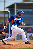New York Mets outfielder Tim Tebow (15) base hit during an Instructional League game against the Miami Marlins on September 29, 2016 at Port St. Lucie Training Complex in Port St. Lucie, Florida.  (Mike Janes/Four Seam Images)