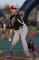 Connor Sadzeck (14) of the High Desert Mavericks pitches during a game against the Lancaster JetHawks at The Hanger on May 19, 2015 in Lancaster, California. Lancaster defeated High Desert, 8-7. (Larry Goren/Four Seam Images)