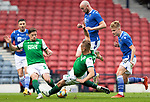 St Johnstone v Hibs…22.05.21  Scottish Cup Final Hampden Park<br />Chris Kane jumps a tackle from Ryan Porteous<br />Picture by Graeme Hart.<br />Copyright Perthshire Picture Agency<br />Tel: 01738 623350  Mobile: 07990 594431