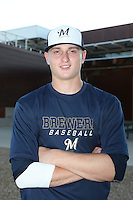 Karsen Lindell (47) of the AZL Brewers poses for a photo before a game against the AZL Reds at the Cincinnati Reds Spring Training Complex on July 5, 2015 in Goodyear, Arizona. Reds defeated Brewers, 9-4. (Larry Goren/Four Seam Images)