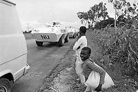 - Mozambique 1993, UN intervention after the Civil War, column of Italian army vehicles in the province of Sofala<br /> <br /> - Mozambico 1993, intervento ONU dopo la guerra civile, colonna di veicoli dell'esercito italiano in provincia di Sofala