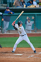 Ty Kelly (22) of the Salt Lake Bees bats against the Tacoma Rainiers at Smith's Ballpark on May 27, 2019 in Salt Lake City, Utah. The Bees defeated the Rainiers 5-0. (Stephen Smith/Four Seam Images)