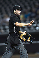 Umpire Brandon Blome works a game between the Columbia Fireflies and Charleston RiverDogs on Monday, August 7, 2017, at Spirit Communications Park in Columbia, South Carolina. Columbia won, 6-4. (Tom Priddy/Four Seam Images)