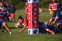 Action from the Counties premier club rugby match between Karaka and Ardmore Marist at Karaka RFC in Karaka, New Zealand on Saturday, 3 July 2021. Photo: Dave Lintott / lintottphoto.co.nz