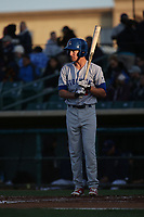 Trent Gilbert (2) of the Stockton Ports bats against the Lancaster JetHawks at The Hanger on May 12, 2017 in Lancaster, California. Lancaster defeated Stockton, 7-2. (Larry Goren/Four Seam Images)