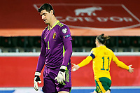 24th March 2021; Leuven, Belgium; Thibaut Courtois goalkeeper of Belgium looks dejected as Harry Wilson  of Wales scores his goal during the World Cup Qatar 2022 Qualifiers Match between Belgium and Wales on March 24, 2021 in Leuven, Belgium