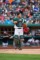 Fort Wayne TinCaps catcher Juan Fernandez (37) during a Midwest League game against the Kane County Cougars at Parkview Field on May 1, 2019 in Fort Wayne, Indiana. Fort Wayne defeated Kane County 10-4. (Zachary Lucy/Four Seam Images)