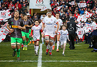 Saturday 7th December 2019 | Ulster Rugby vs Harlequins<br /> <br /> Iain Henderson with mascots Andrea Hughes and Nathan Glenn before the Heineken Champions Cup Round 3 clash in Pool 3, between Ulster Rugby and Harlequins at Kingspan Stadium, Ravenhill Park, Belfast, Northern Ireland. Photo by John Dickson / DICKSONDIGITAL