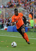 Netherlands substitute Elijero Elia dribbles towards goal in attacking the left flank. Holland defeated Denmark, 2-0, June 14th, at Soccer City in the opening match of Group E of the 2010 FIFA World Cup.