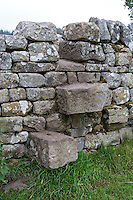 Northumberland, England, UK.  A Step Stile Crossing over a Wall on the Hadrian's Wall Footpath.
