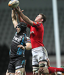 Jonathan Thomas and Donnacha Ryan compete for the lineout ball..RaboDirect Pro12.Ospreys v Munster.Liberty Stadium.03.12.11.©Steve Pope